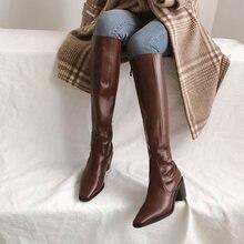 Женские ботинки сезон осень зима 2020 элегантные кожаные цвета