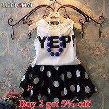 MERI AMMI/комплект детской одежды для девочек, жилет без рукавов футболка+ юбка в горошек для девочек возрастом от 3 до 11 лет J521