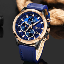 2020 Fashion Blue Leather Clock LIGE Mens Watches