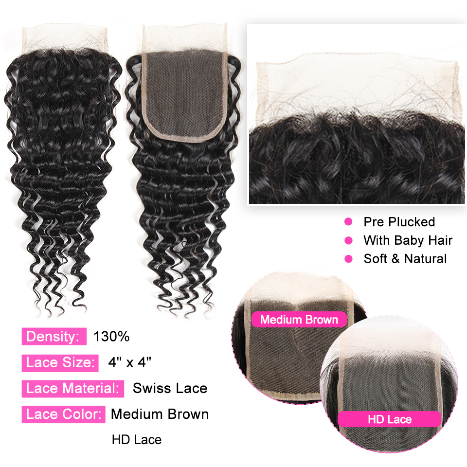 ALI ANNABELLE HAIR Human Hair Bundles With Closure Remy Hair 3 Bundles Brazilian Deep Wave Human Hair with HD Lace Closure