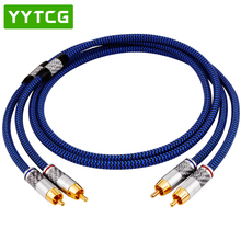 YYTCG  Audio Cable 2RCA to 2 RCA Male to Male With Gold-plated 6N OCC 1M 1.5M 2M 3M For Home Theater Amplifier DVD TV 1m copper colour cc fond 2 rca male to male cable alloy 1 8 occ copper ln002686