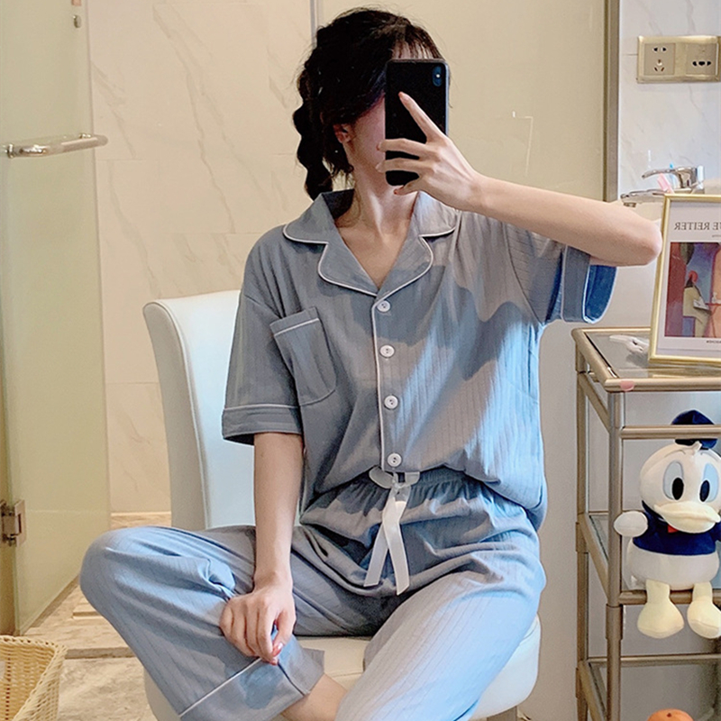 New In 2021 Cotton Cardigan Pajamas Four Seasons Spring and Summer Women Korean Clothes Cute Solid Color Home Service Suit Women