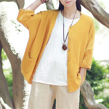 Women Cotton Linen Chinese Style Jacket Female Button Loose Casual Thin Jacket With Pockets Plus Size High Street Coat M-6XL 7XL