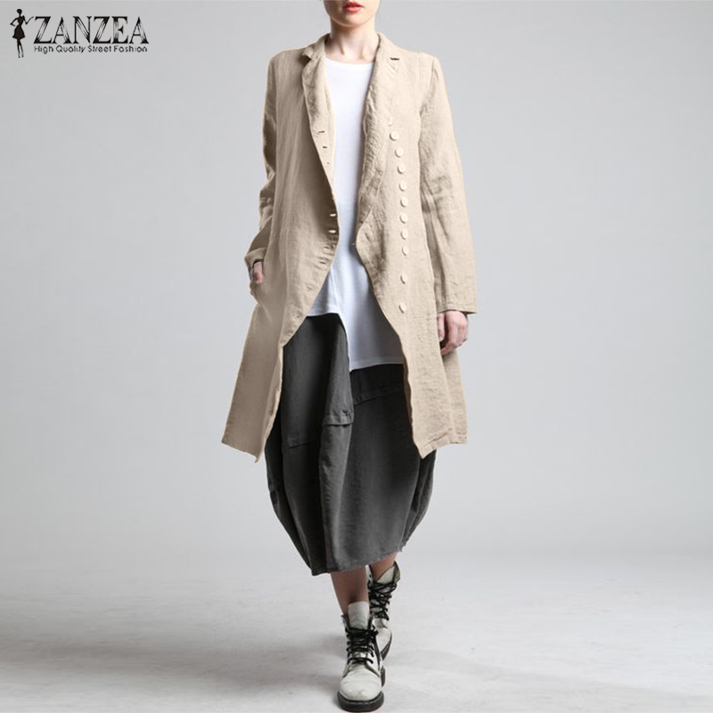 Women's Lapel   Blouse   2019 ZANZEA Casual Cardigans Coats Casual Button Long Sleeve   Shirts   Female Cotton Blusas Outerwear Oversize