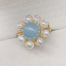 New Natural Aquamarine 10 Round Bead Ring with 4MM Pearl Women's  Ring Jewelry Gift