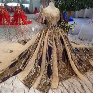 Image 3 - LS11080 Luxury Evening Dress 2020 Women Occasion Dress O Neck Crystal Short Sleeves Party Dress Long Golden Lace