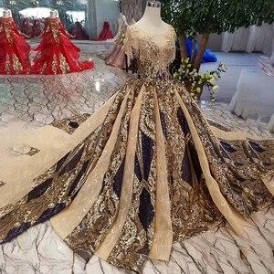 Image 3 - Vestido de noche largo de lujo LS11080 para mujer, vestidos de ocasión, cuello redondo, manga corta de cristal, encaje dorado, 2020