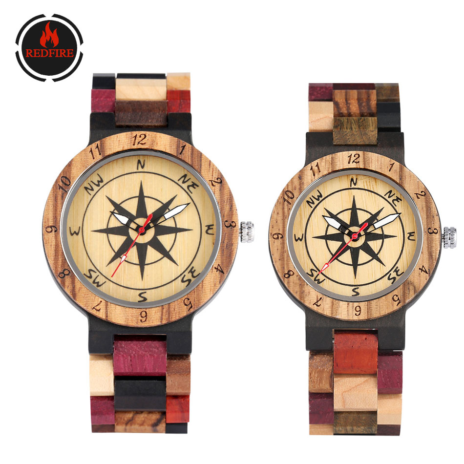 REDFIRE Couple Wood Watches Punk Fashion Compass Dial Men Watches Women's Wooden Bangle Wristwatch Folding Clasp Lovers Watch