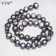 Grey Loose Pearl Bead 9-10mm Cultured Potato Freshwater Pearl Beads For Diy Necklace Bracelet Earrings Hole 0.8mm 15 Inch