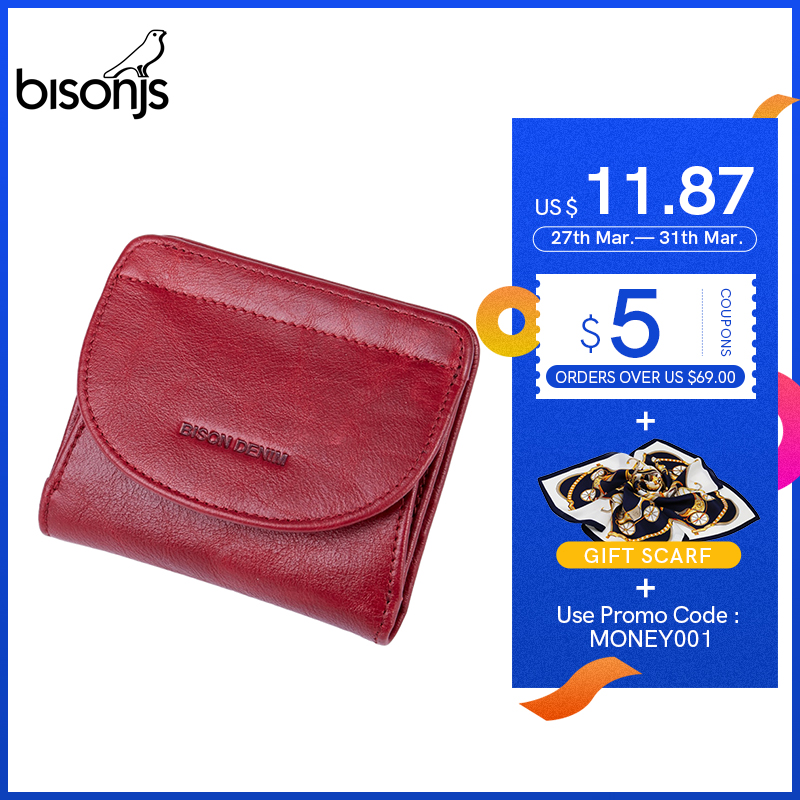 BISONJS Genuine Leather Wallet Women Fashion Card Holder Wallet Female Coin Purse Mini Clutch Money Bag For Girls B3274