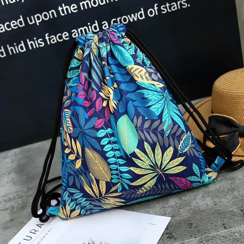Fashion Leaves National Canvas Drawstring Bag Women Vintage College Students School Bags Travel Storage Package Bag