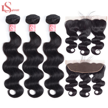 LS Hair Brazilian Body Wave 3 Bundles With Frontal 13X4 Human Natural Color Remy Extensions