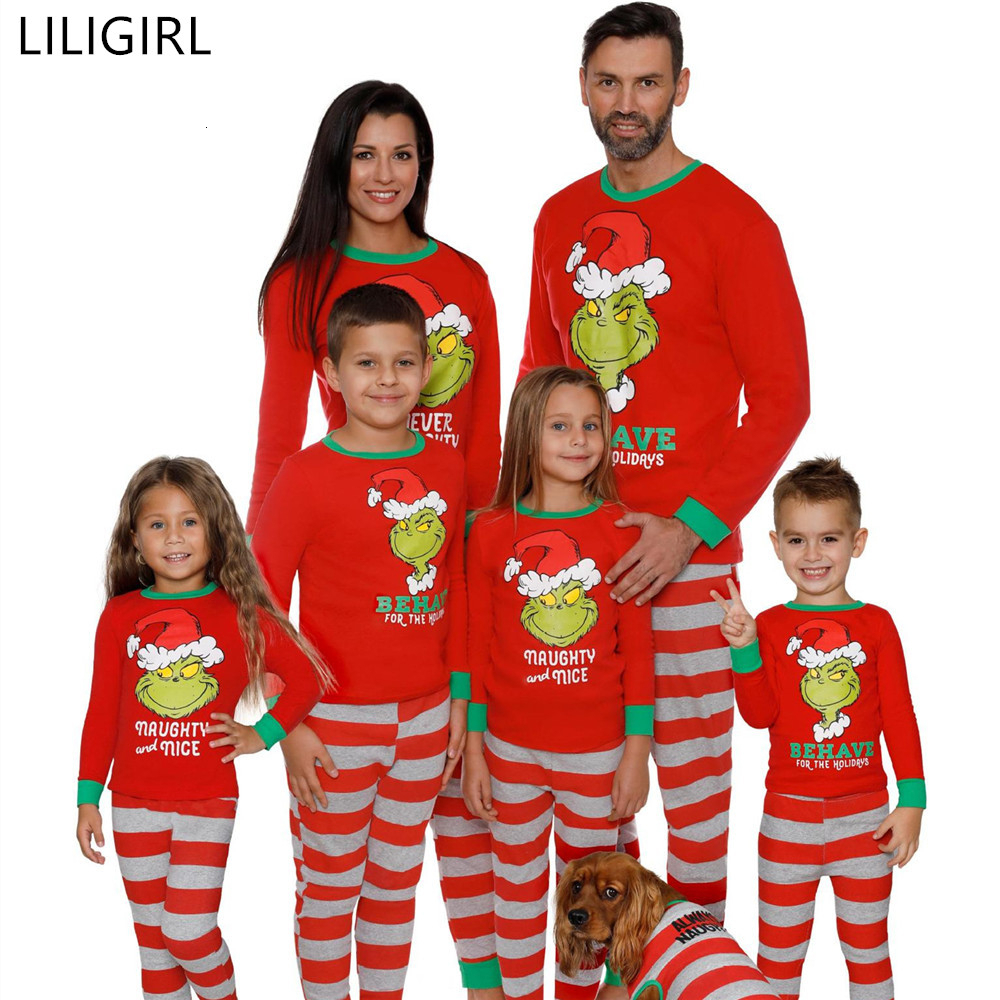 2020 Family Matching Sleepwear Clothes Mother Father Kids Cartoon Print Pajamas Christmas Mom and Me Warm Nightwear Clothing
