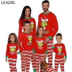 Família de algodão combinando roupas de dormir mãe pai crianças dos desenhos animados imprimir pijamas natal mãe e me quente roupa de dormir