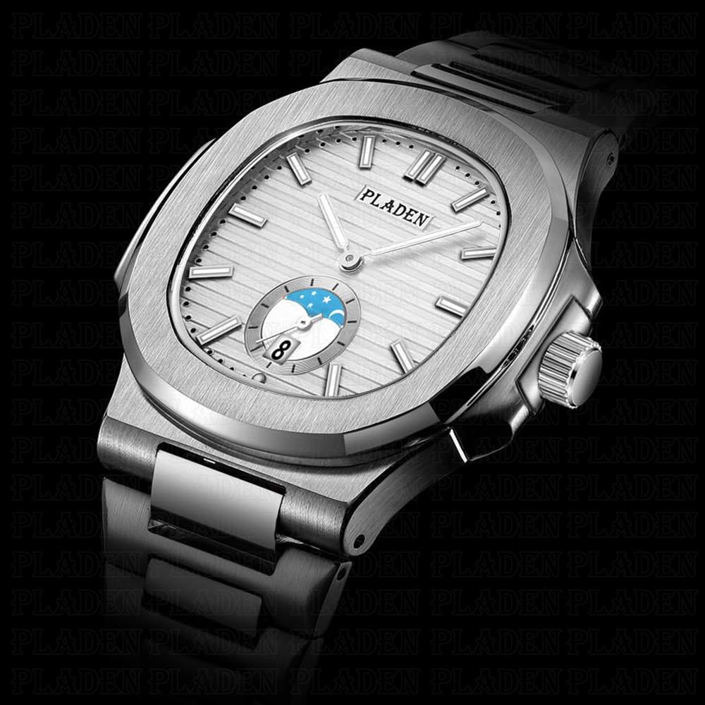 PLADEN Топ люксовый бренд Мужские часы качество светящийся стальной хронограф наручные часы водонепроницаемые кварцевые мужские роскошные