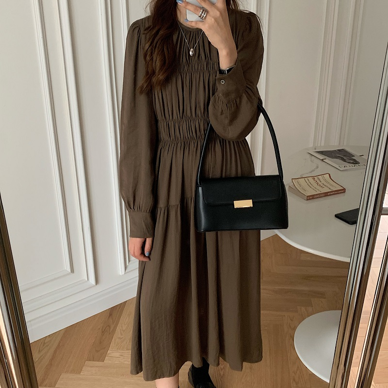 H10c4d9de445e4d9ea5624286350b049dB - Autumn Korean O-Neck Long Sleeves Minimalist Solid Midi Dress