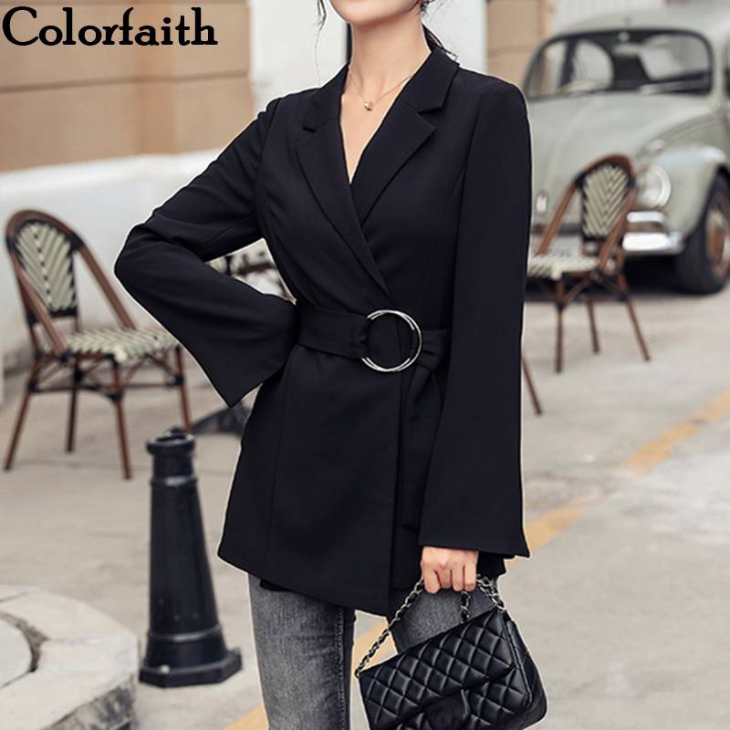 Colorfaith New 2019 Autumn Winter Women Blazers Jackets Sashes Pockets Fashionable Office Lady Korean Style Female Black JK9167