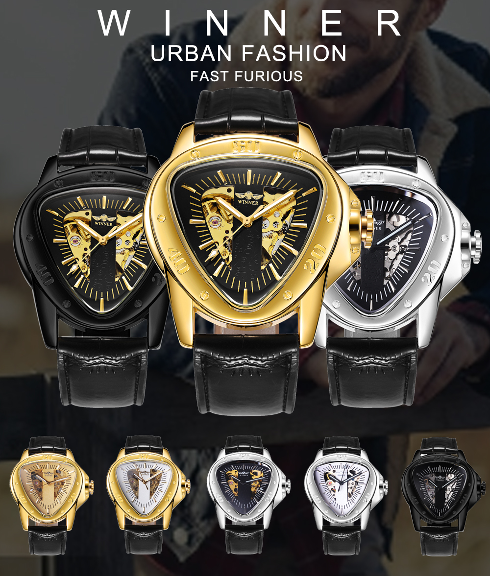 Image 2 - WINNER Official Sports Automatic Mechanical Men Watch Racing Triangle Skeleton Wristwatch Top Brand Luxury Golden + Gift Boxbox brandwatch brandwatch designer brands -