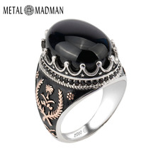 925 Sterling Silver Ring Crown Bezel Setting Oval Black Agate Stone with Rose Gold Grass for Men Party Fine Jewelry