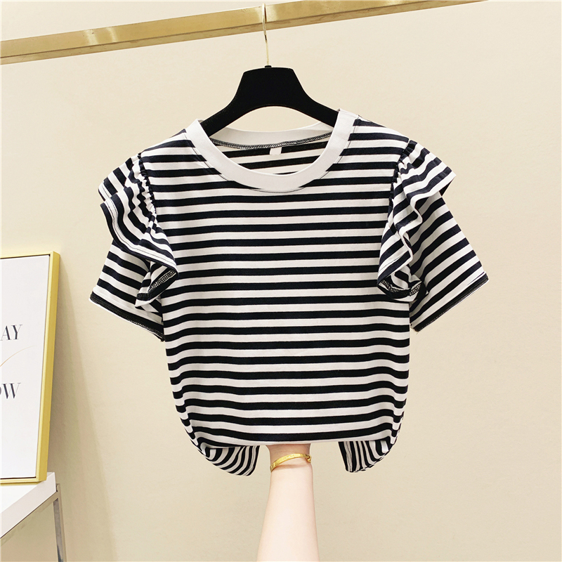 Striped Round Neck T Shirts Wild Fashion Casual Cotton Short-Sleeved T-shirt Female New 2020 Summer Korean-Style Women Clothing