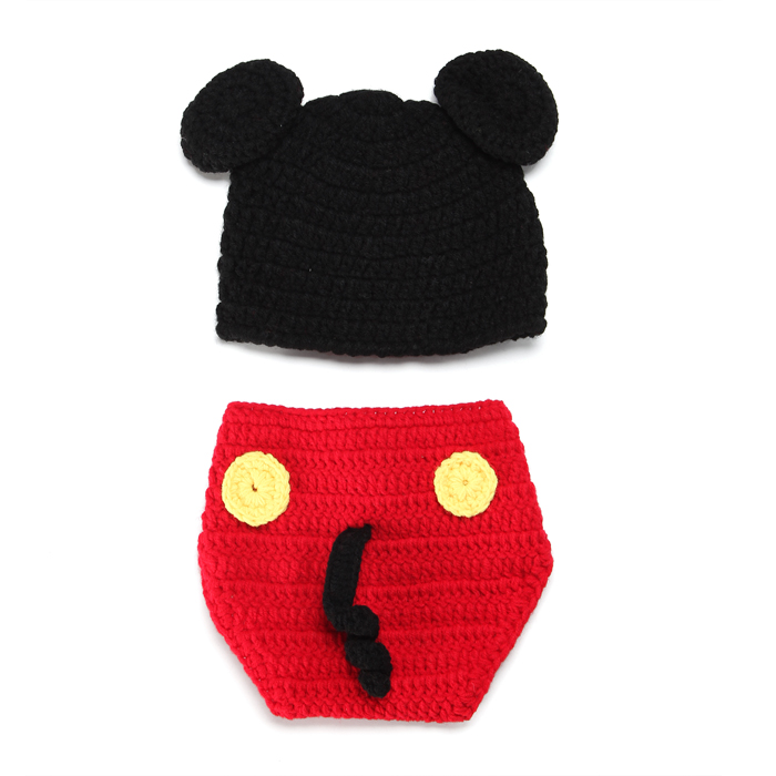 Tricoté à la main 0-3 mois Bébé POM POM Chapeau Disney Mickey Minnie Garçon Fille Rose Bleu