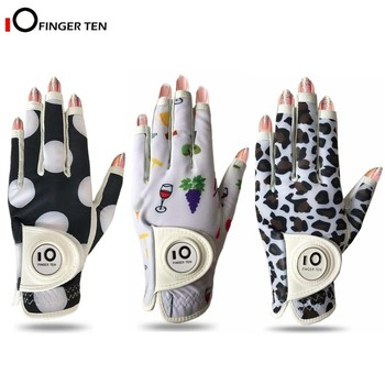 All Weather Grip Nail Golf Gloves Women Left Hand Leather with Ball Marker Nail Colors Pack Fit Size S M L XL