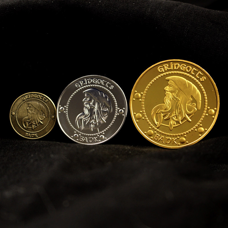 Harry College Badge Gryffindor Gold Coin hobby Collective Coin cosplay Props Gringottsed Coin Gold Galleon Sorcerer christmas
