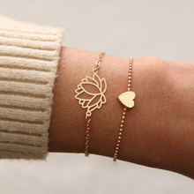 2Pcs/set Simple Hollow Lotus Love Bracelet Fashion Gold Womens Flowers Jewelry Gifts