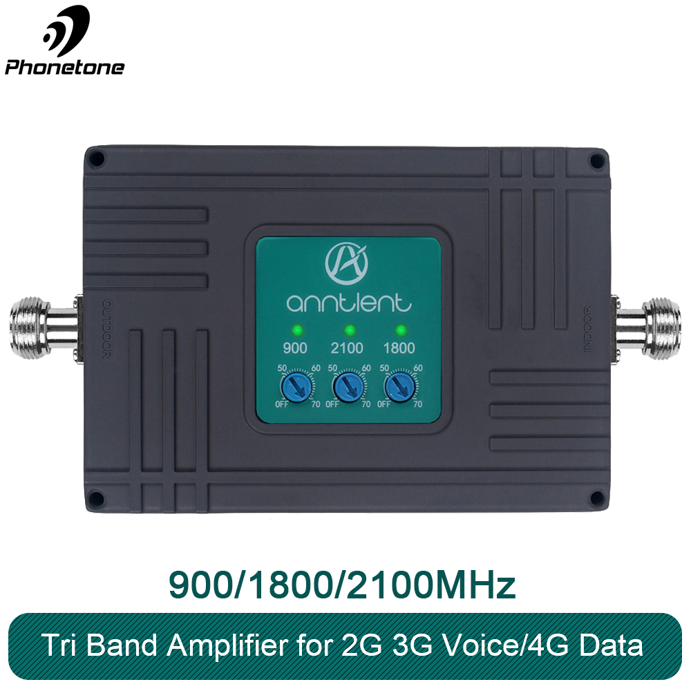 Signal Repeater 2G 3G 4G Cellular Signal Booster GSM 900/DCS LTE 1800/WCDMA UMTS 2100MHz Repeater 900 1800 2100 3 Band Amplifier