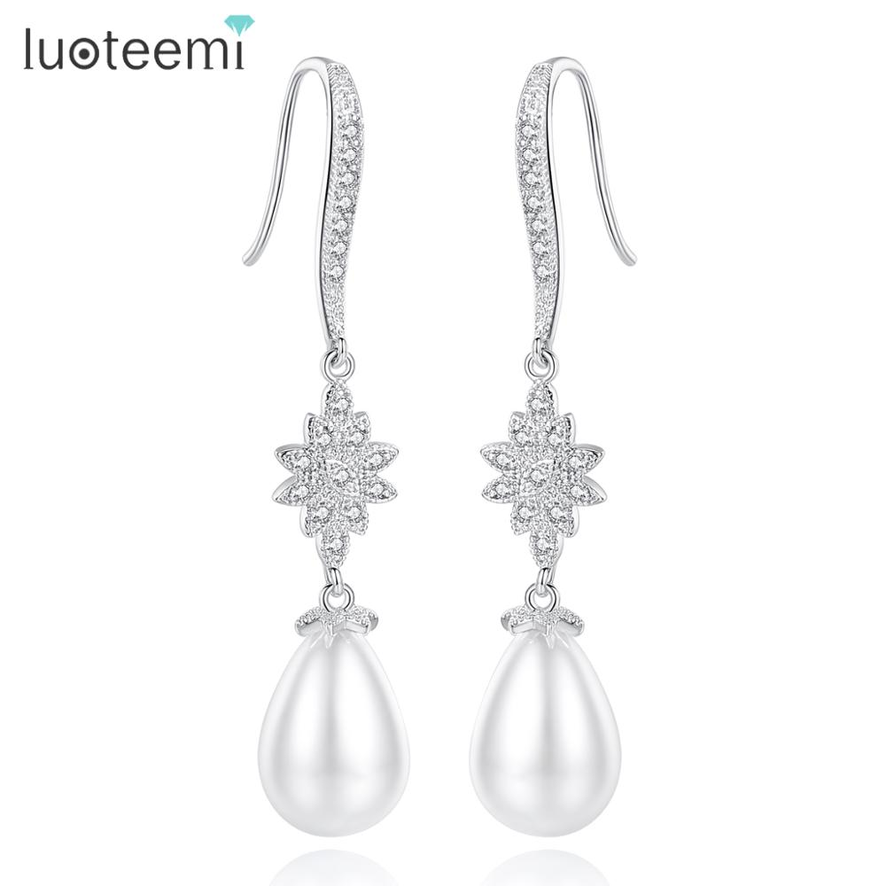 Женские серьги капельки LUOTEEMI, элегантные серьги белого и золотого цвета с прозрачным цирконием и белым искусственным жемчугом|gold color earrings|colorful earringsdrop earrings | АлиЭкспресс