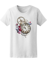 Watercolor Steam Punk Clock Tee Women'S -Image By Unisex Loose Fit Tee Shirt(China)