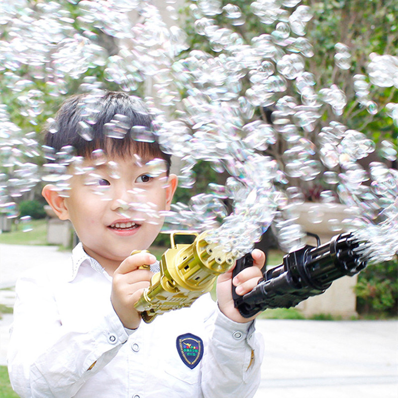 Kids Automatic Gatling Bubble Gun Toys Summer Soap Water Bubble Machine 2-in-1 Electric Bubble Machine For Children Gift Toys