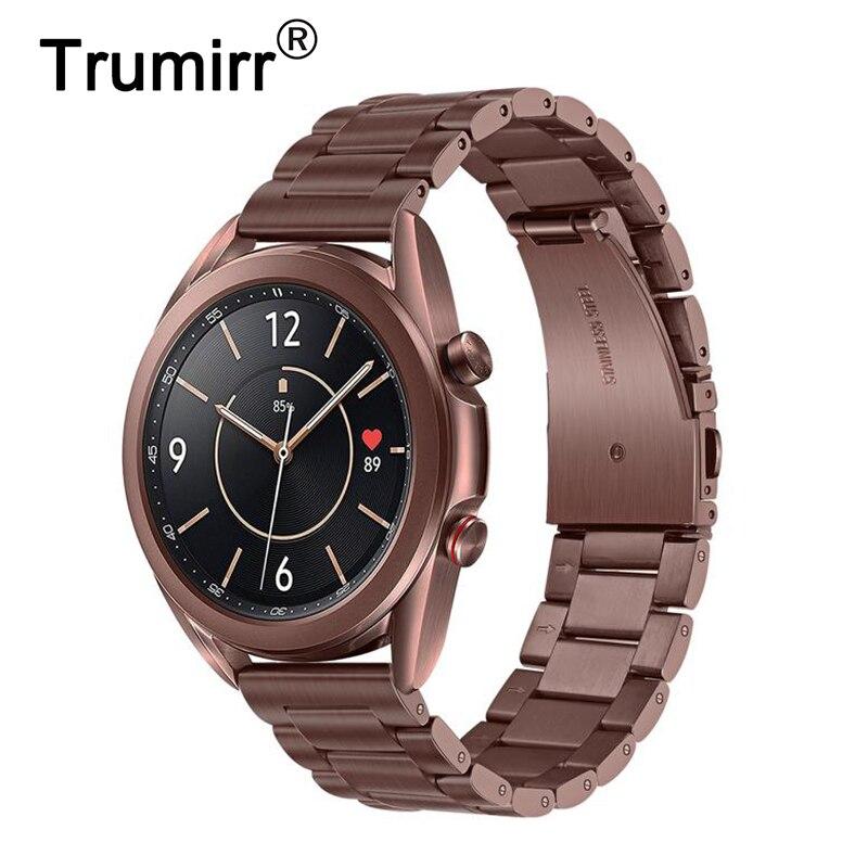 Ремешок из нержавеющей стали/20 мм/22 мм для Samsung Galaxy Watch 3 41 мм 45 мм длина браслета Watch3 быстроразъёмное соединение ленточная Мистик», «бронза
