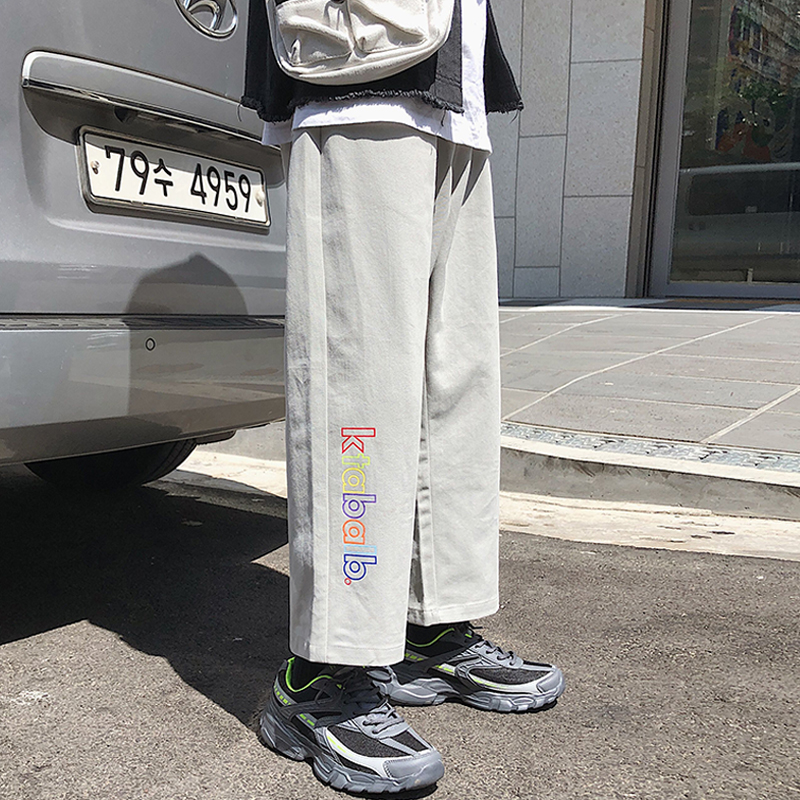 Men Pants 2019 Autumn Korean Style Loose Hip Hop Aesthetic Streetwear Ulzzang Casual Fashion Trousers