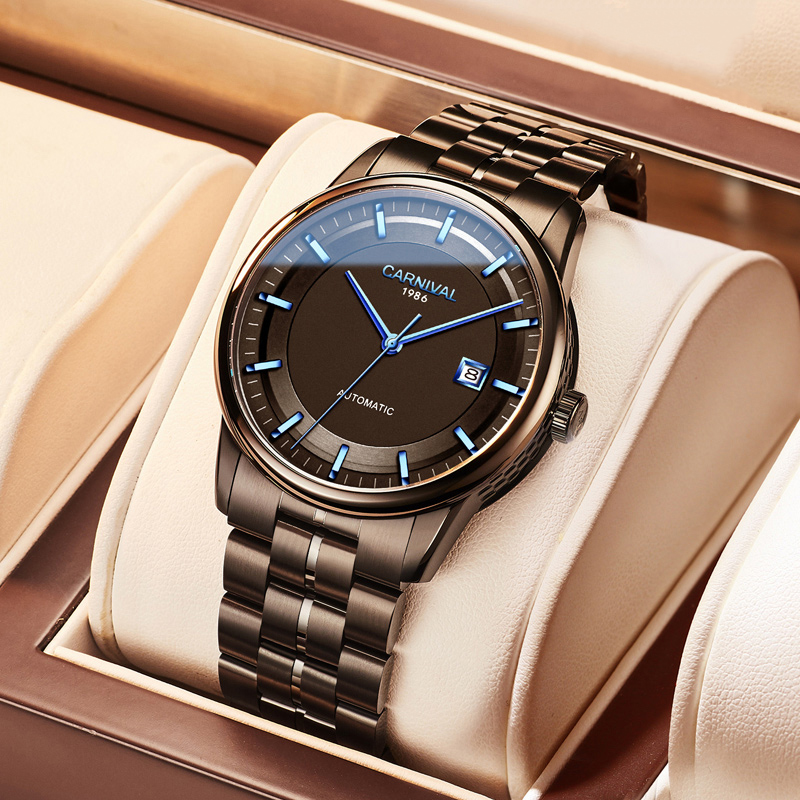 High End MIYOTA 9015 Watch Switzerland CARNIVAL Automatic Watch Men Mechanical Watches Sapphire Double Calendar Waterproof Reloj