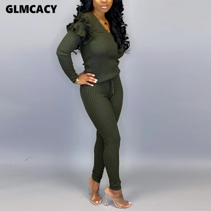 Women Cascading Ruffle Design Long Sleeve V-neck Bodycon Skinny Jumpsuit Knitted Overall Casual Stretch Plus Size Jumpsuit