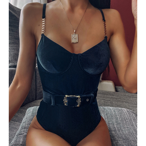 Image 1 - In X Sexy belt one piece swimsuit female Ribbed bikinis 2020 mujer Push up swimwear women Monokini Summer bathers black Bodysuit