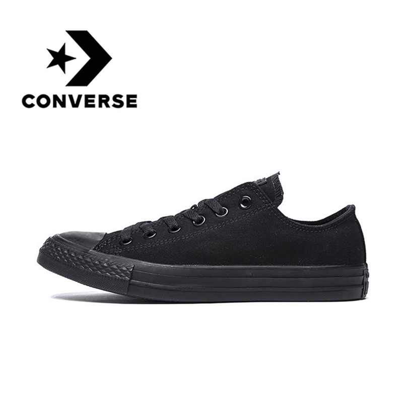 Original Authentic Converse ALL STAR Classic Unisex Skateboarding Shoes Low-Top Lace-up Durable Canvas Footwear Black 1Z635