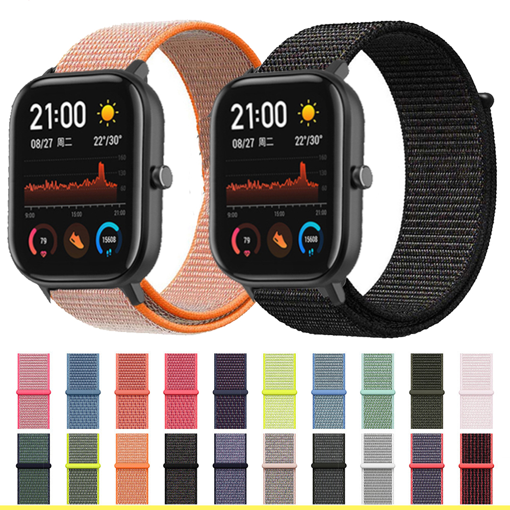 Nylon Strap 20mm 22mm For Amazfit Gts Bip Smart Wrist Strap Nylon Loop Weaving Watch For Amazfit Bip Pace Watchband Brecelet