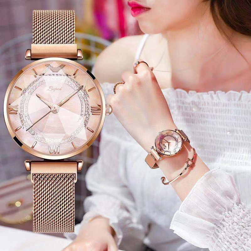 Luxury Gem Cut Flower Mirror Women Watches Magnet Mesh Band Rhinestones Quartz Wristwatch Female Diamond Watch Zegarek Damsk