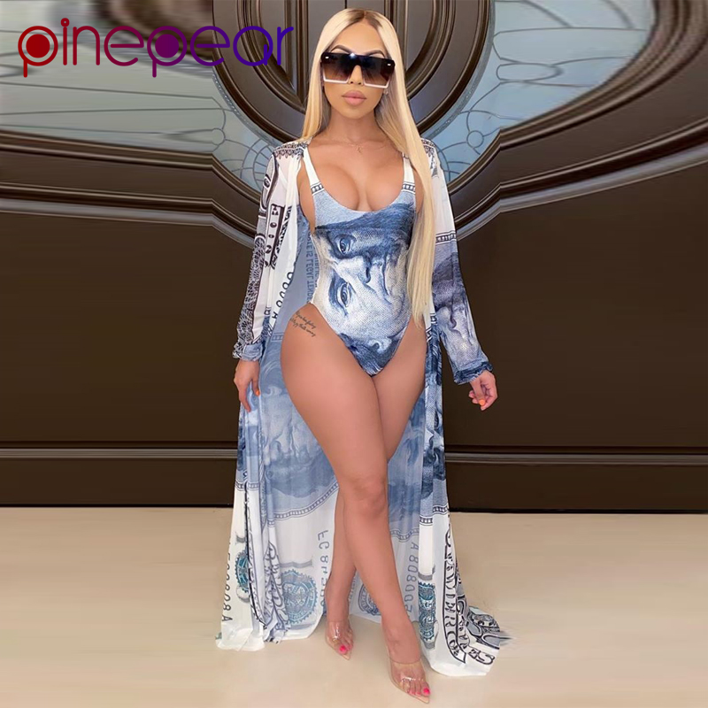 PinePear Summer Fashion Design Women Two Piece Outfits Money Print Full Sleeve Long Coats 2 Pieces Bodysuits Beach Set Wholesale