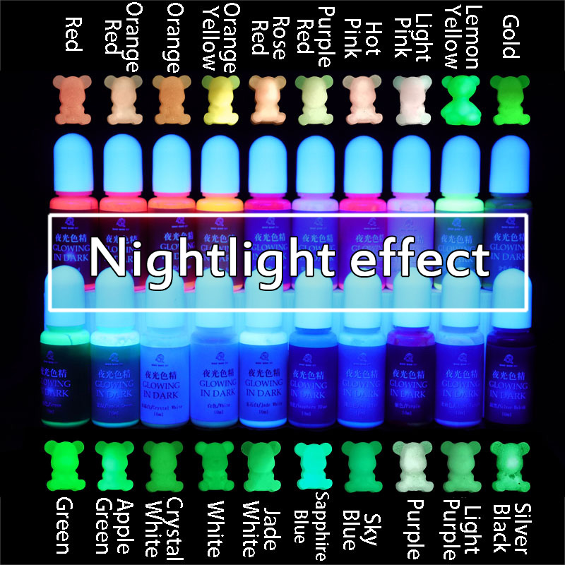 10 Pcs/set Luminous High Concentration Epoxy UV Resin Coloring Dye Colorant Pigment Handmade DIY Jewelry Making Accessories