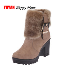 Fashion Womens Winter Fur Shoes High Heels Boots Sexy Ladies Brand Ankle Botas Warm Plush Snow Square Heel 7cm A153