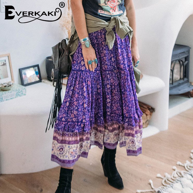 Everkaki Boho Print Long Skirts Women Elastic Waist Sashes Autumn Winter Elegant Ladies Casual Skirt Female 2019 New Fashion