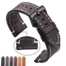 Hengrc pulseira de relógio de couro genuíno, correia de relógio de couro genuíno de vaca 18 20 22 24mm, unissex, grossa, retrô, de metal fivelas com fivela