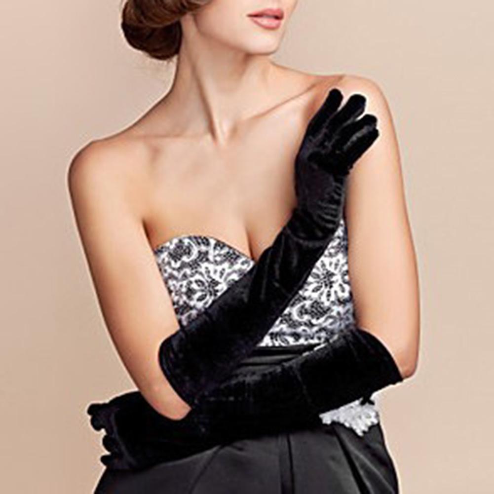 Vintage Women Full Finger Stretchy Long Evening Party Velvet Gloves Arm Warmers