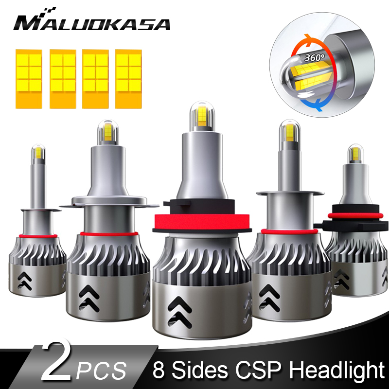 2PCS <font><b>LED</b></font> H7 <font><b>Headlight</b></font> Bulb 8 Lines CSP Chip 8000LM 50W <font><b>360</b></font>° Shining H8 H11 Car Fog lights HB3 9005 HB4 9006 <font><b>LED</b></font> H1 Auto Lamp 12V image