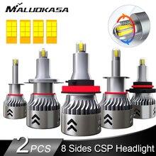 Ampoule de phares de voiture brillant H8 H11, 2 pièces LED H7 8 lignes, puce CSP 8000LM 50W 360 °, feux antibrouillard de voiture HB3 9005 HB4 9006 H1, lampe automatique 12V