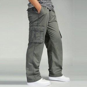 Image 3 - 夏男性のハイウエストパンツ弾性プラスサイズの服 6XLカーゴパンツ男性多くポケットルーズワークパンツ男性ストレートズボン