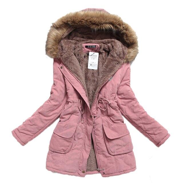 Fitaylor New Winter Women Jacket Medium-long Thicken Outwear Hooded Wadded Coat Slim Parka Cotton-padded Jacket Overcoat 3